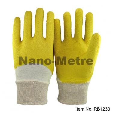 Yellow Latex Crinkle 3/4 Dipped Rubber Glove- RB1230