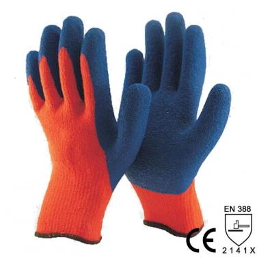 Winter Type Orange Acrylic Liner Coated Rubber Work Glove -NM007-OR/B