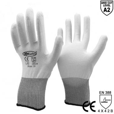 ANSI CUT 2 White PU Dipping Palm Cut-Proof Safety Gloves - DY110-PU