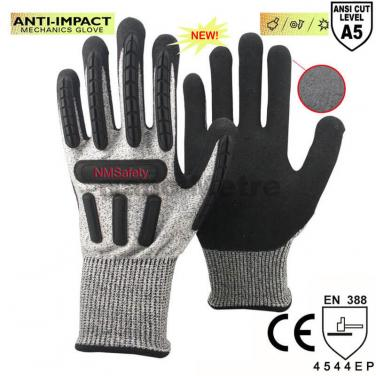 ANSI CUT 5 Top Quality Anti Vibration Working Protective Gloves - DY1350AC-BLK