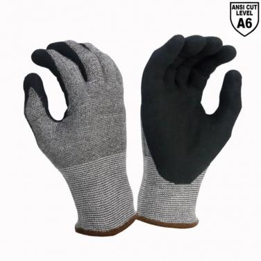 DO-TEX™ Cut Fiber liner ANSI Cut A6 Cut Resistant Protective Sandy Nitrile Work Gloves - DY1350S-H6