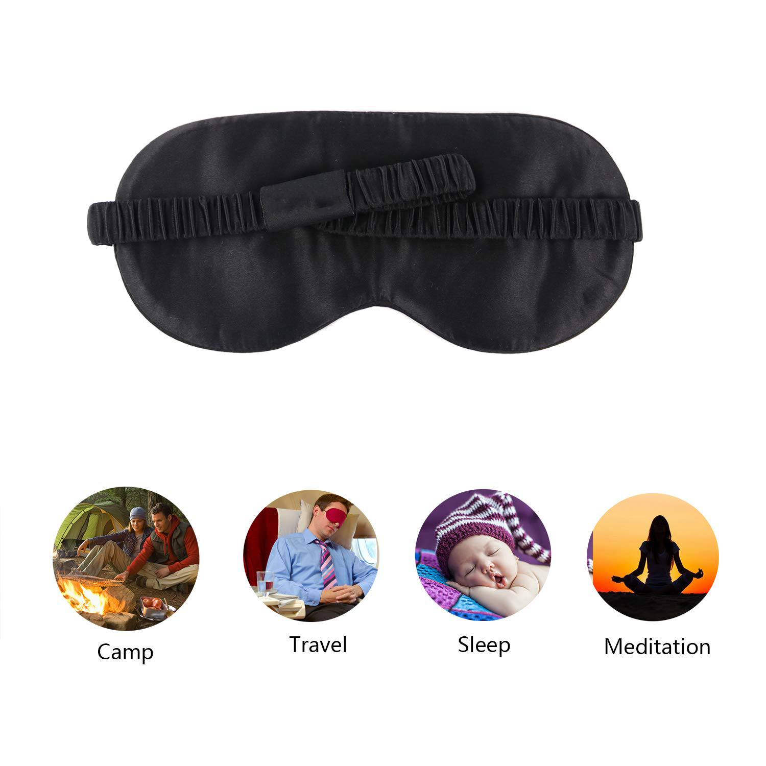Silk eye mask adjustable