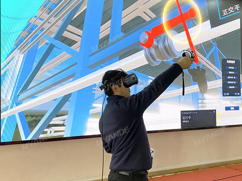Checking valve height through VR technology